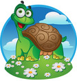 smiling fun tortoise on a color background vector image vector image