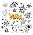star doodles isolated set sketchy hand drawn vector image vector image