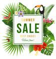 summer sale emblem wirh tropical plants vector image