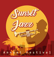 sunset jazz festival emblem vector image