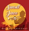 sunset jazz festival emblem vector image vector image