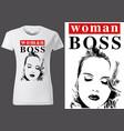 t-shirt design with inscription woman boss vector image