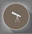 telescope simple sign white icon on brown vector image vector image