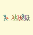 the winner group of children running marathon vector image vector image