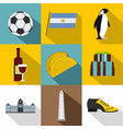tourism in argentina icon set flat style vector image vector image