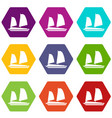 vietnamese junk boat icon set color hexahedron vector image vector image