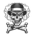 vintage monochrome skull in fedora hat vector image vector image