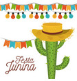 white background poster festa junina with of vector image vector image