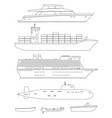 ships and boats line drawings vector image