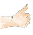 a sketch of a hand with a raised thumb vector image