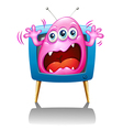 A TV with a pink monster screaming vector image