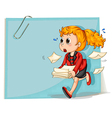 A woman running while carrying some documents vector image vector image