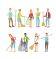 Adult People Cleaning Up Outdoors vector image