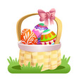 basket with colored easter eggs vector image vector image