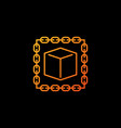 blockchain with cube orange icon or design vector image vector image