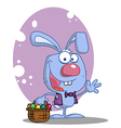 Blue Rabbit With Easter Eggs And Basket vector image vector image