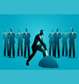 businessman tries to draw a sword in stone vector image vector image