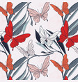 butterfly floral fabric background nature vector image vector image