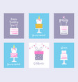 Cakes and unicorns birthday cards shower
