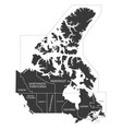 canada map labelled black vector image vector image