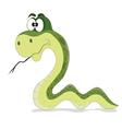 cartoon funny green snake vector image