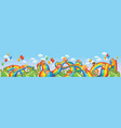 children slide down on a rainbow vector image vector image