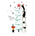 christmas card with penguins and tree vector image