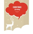 christmas greeting card with white deer vector image