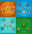 crowdfunding concept 4 flat compositions vector image vector image