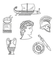 Culture symbols of ancient Greece vector image vector image