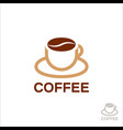 cup coffee penn in form coffee beans vector image vector image