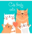 cute card with family cats vector image vector image