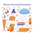 cute sticker set of late fall winter necessities vector image