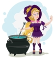 Cute witch cooks potion and admires ring vector image