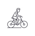 cycling trip line icon concept cycling trip vector image vector image