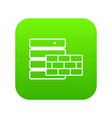 database and brick wall icon digital green vector image vector image