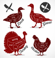 Diagram Guide for Cutting Meat in Vintage Style vector image vector image