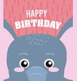 elephant happy birthday card vector image vector image