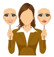 faceless woman holding happy and angry mask vector image