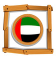 flag of arab emirates on wooden frame vector image vector image