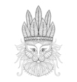 Fluffy Cat with warbonnet vector image vector image