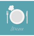 Fork plate knife and chefs hat Menu card flat vector image vector image