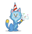 Funny cat celebrates birthday vector image