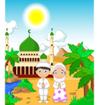 funny two muslims in front of mosque landscape bac vector image vector image