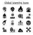 global warming icon set vector image vector image