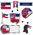 Glossy icons with Mississippian flag vector image