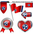 Glossy icons with Tennessean flag vector image vector image