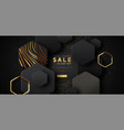 gold black sale template 3d luxury background vector image
