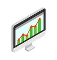 Graph on the computer monitor icon vector image vector image