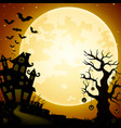 halloween haunted castle with bats and pumpkins ha vector image vector image